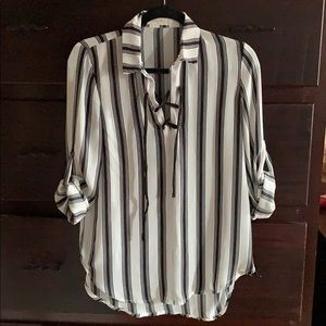 Tops - Black and White Striped Blouse